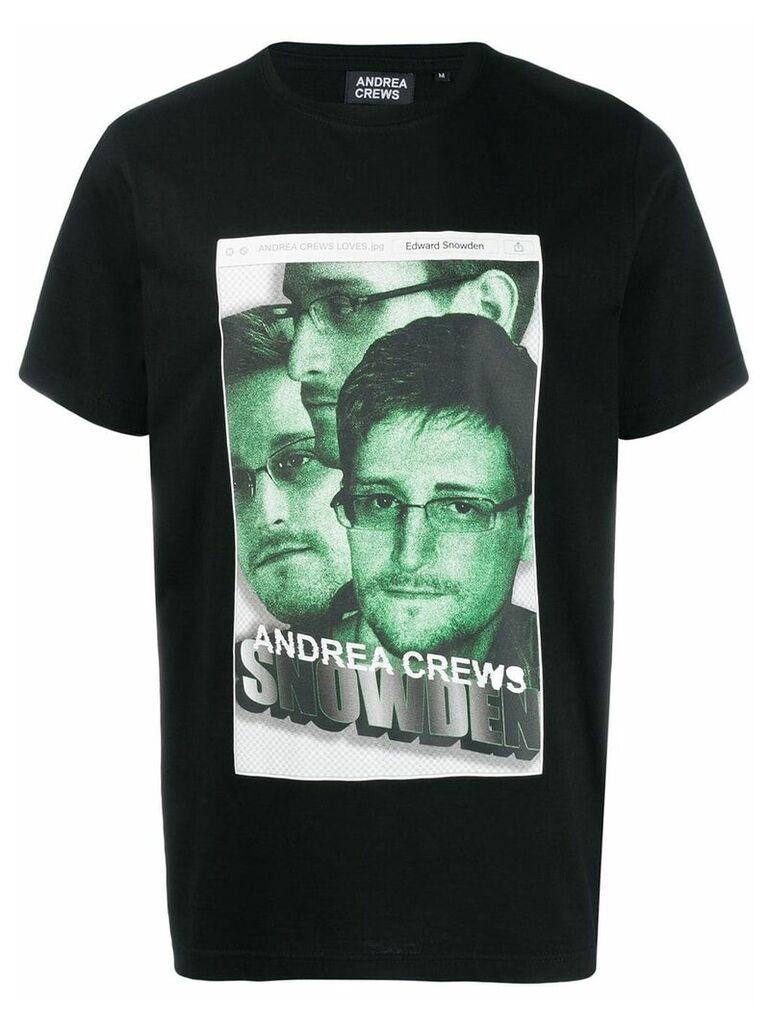 Andrea Crews Snowden print crew neck T-shirt - Black