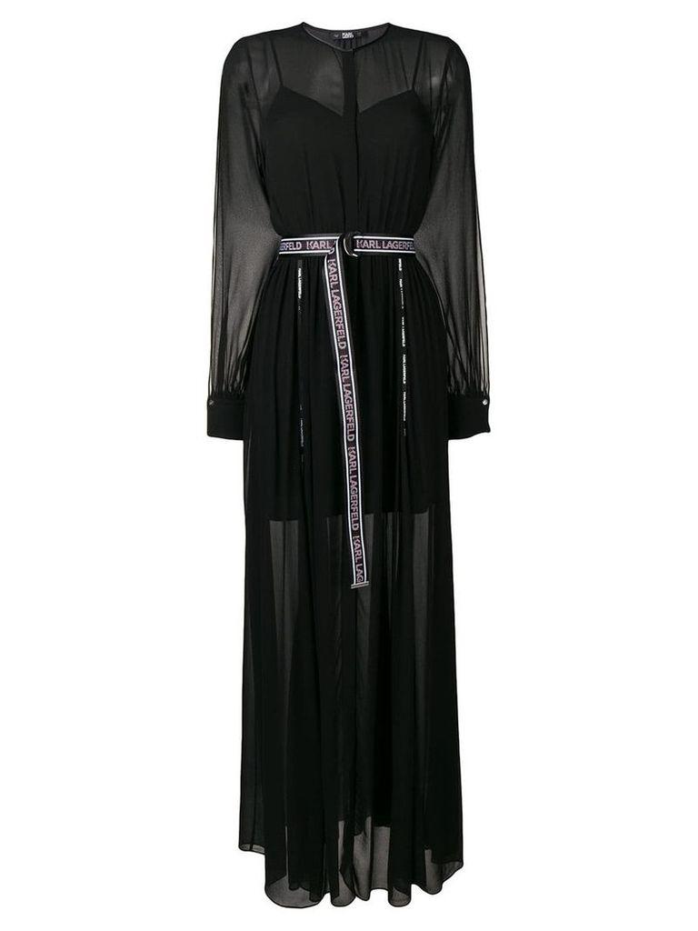 Karl Lagerfeld pleated v-neck evening dress - Black