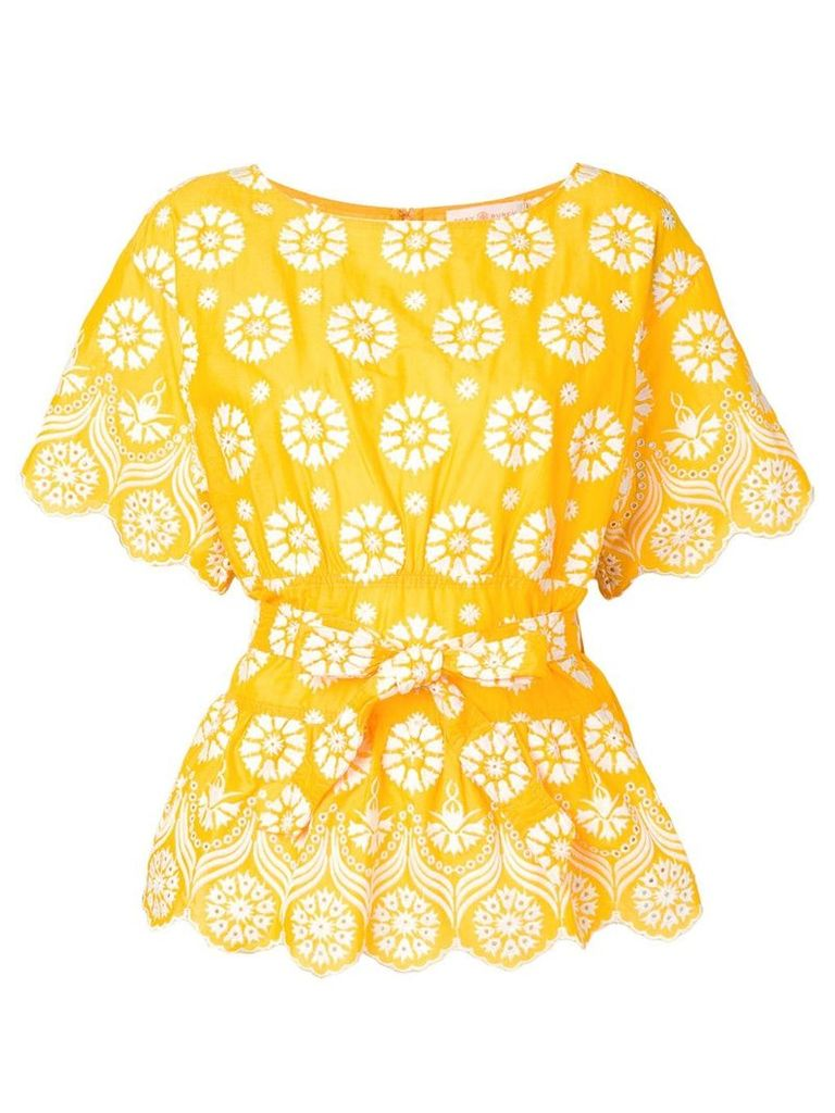 Tory Burch printed embroidered blouse - Yellow
