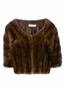 Liska boat-neck cropped fur jacket - Brown