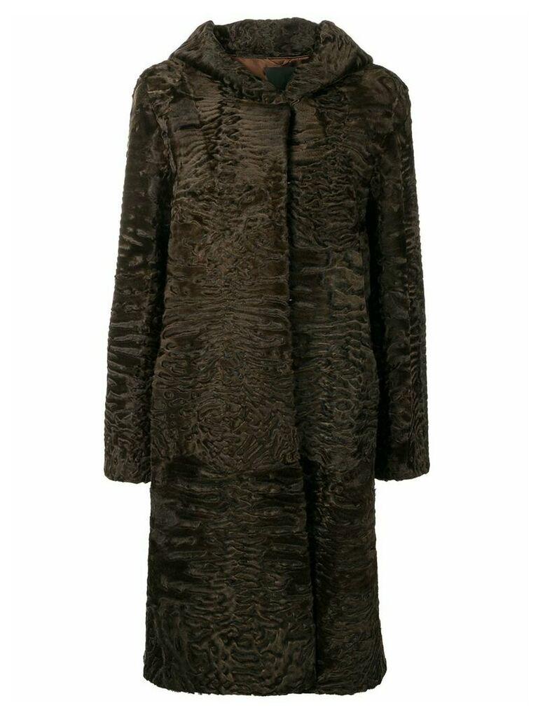 Liska Siva midi fur coat with hood - Brown