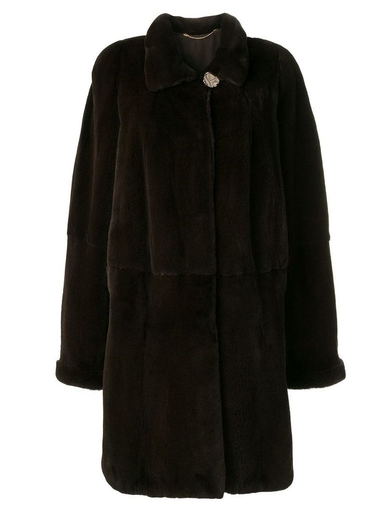 Liska fur trimmed midi coat - Brown