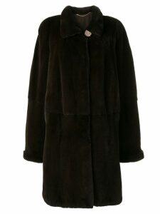 Liska fur trimmed midi coat - Brown