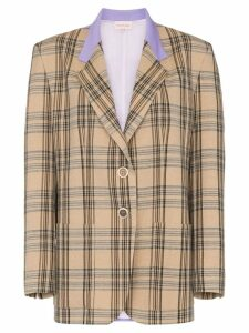 Natasha Zinko single breasted checked blazer - Neutrals