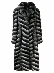 Liska long fur trimmed coat - Black