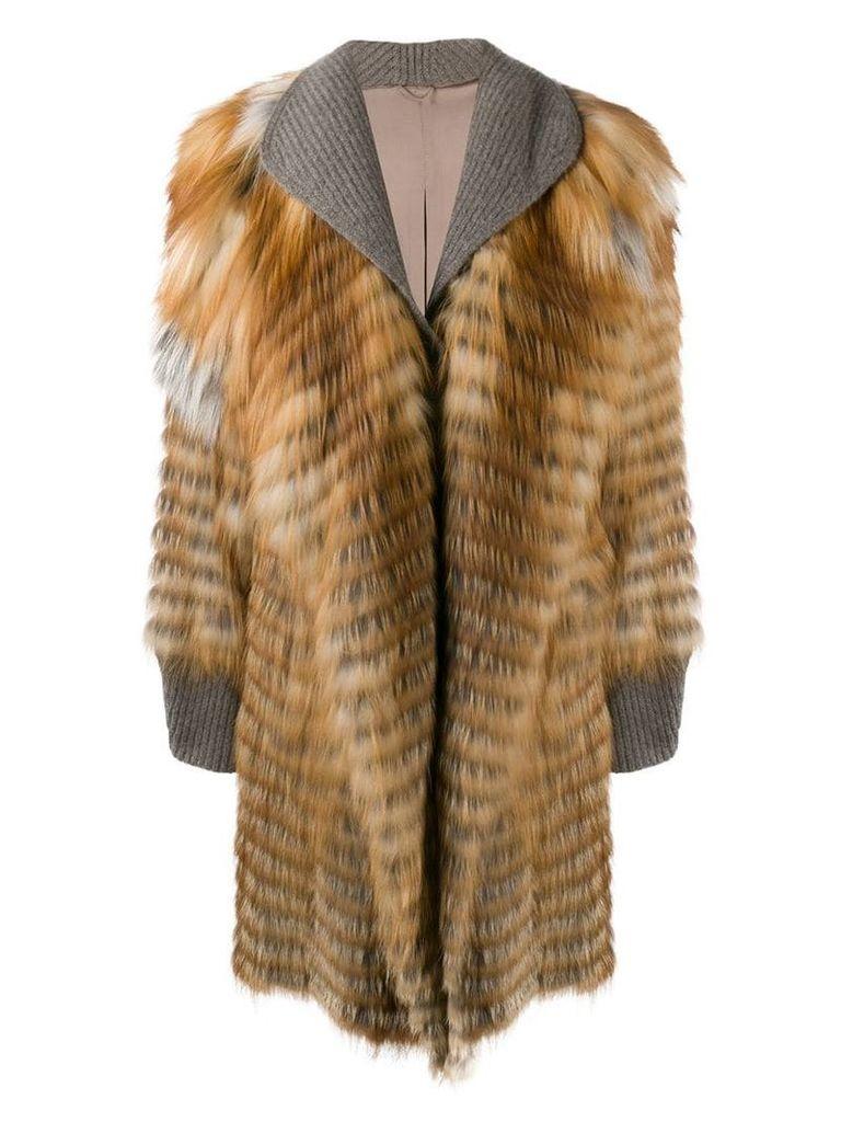 Liska midi fur trimmed coat - Brown
