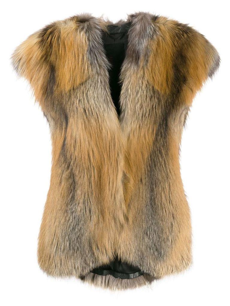 Liska Erino fur waistcoat - Brown