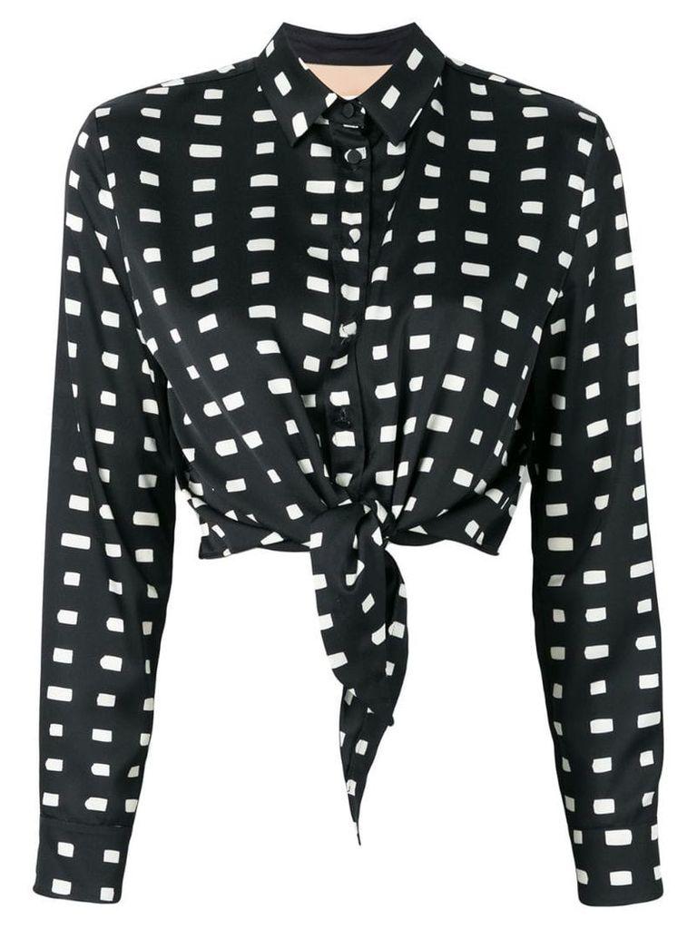 Ssheena tie front printed shirt - Black