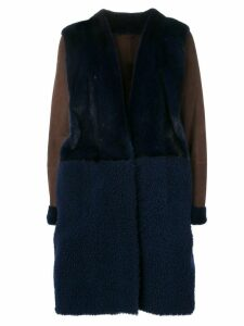 Liska Mantel midi fur coat - Blue