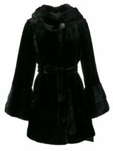 Liska flare-styled fur coat - Black