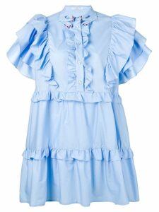 Vivetta ruffled flared mini dress - Blue