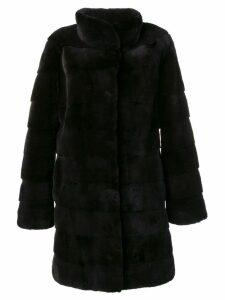 Liska classic midi fur coat - Black