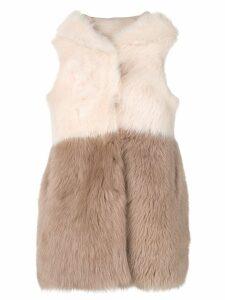 Liska Taranto fur trimmed waistcoat - Neutrals