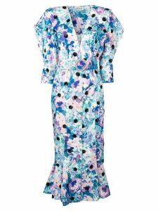 Attico floral print button dress - White