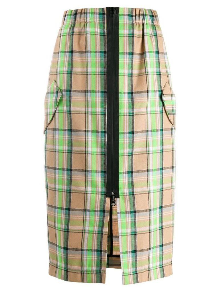 Tela checked straight skirt - Neutrals