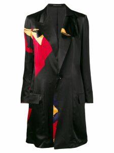 Yohji Yamamoto long blazer with patchwork - Black