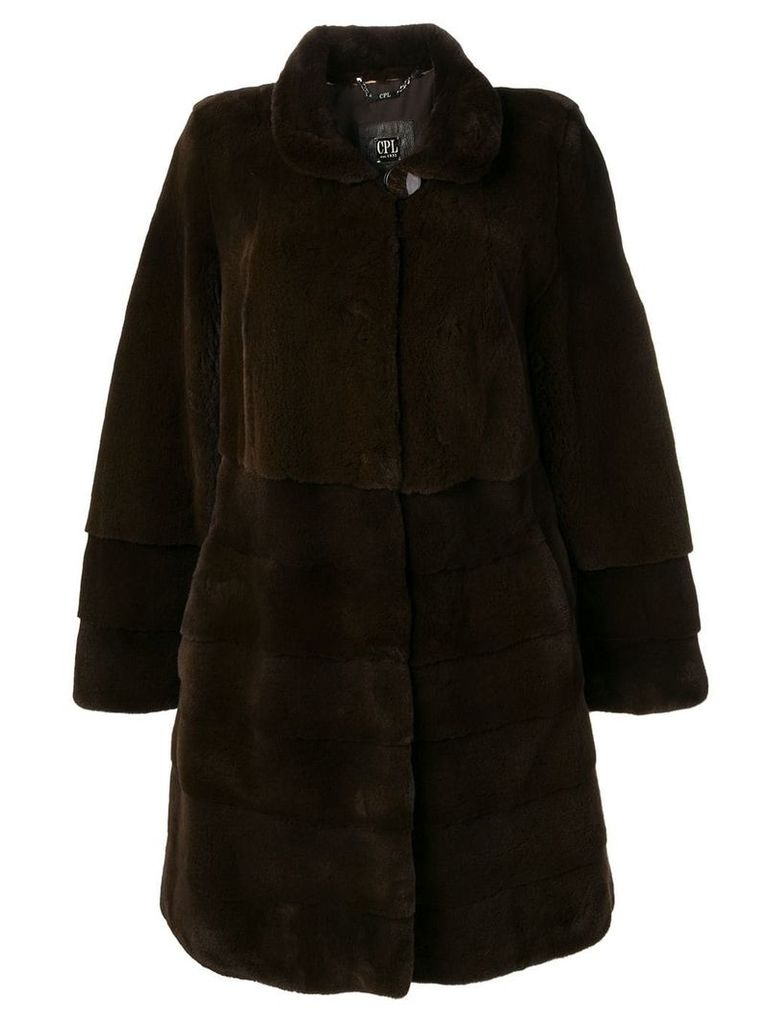 Liska classic midi fur coat - Brown