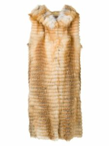 Liska Volpe long fur waistcoat - Neutrals