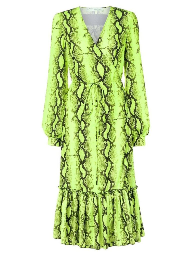 Off-White snake print wrap dress - Yellow