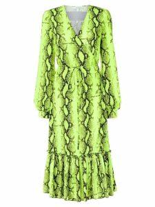 Off-White snake print wrap dress - Yellow