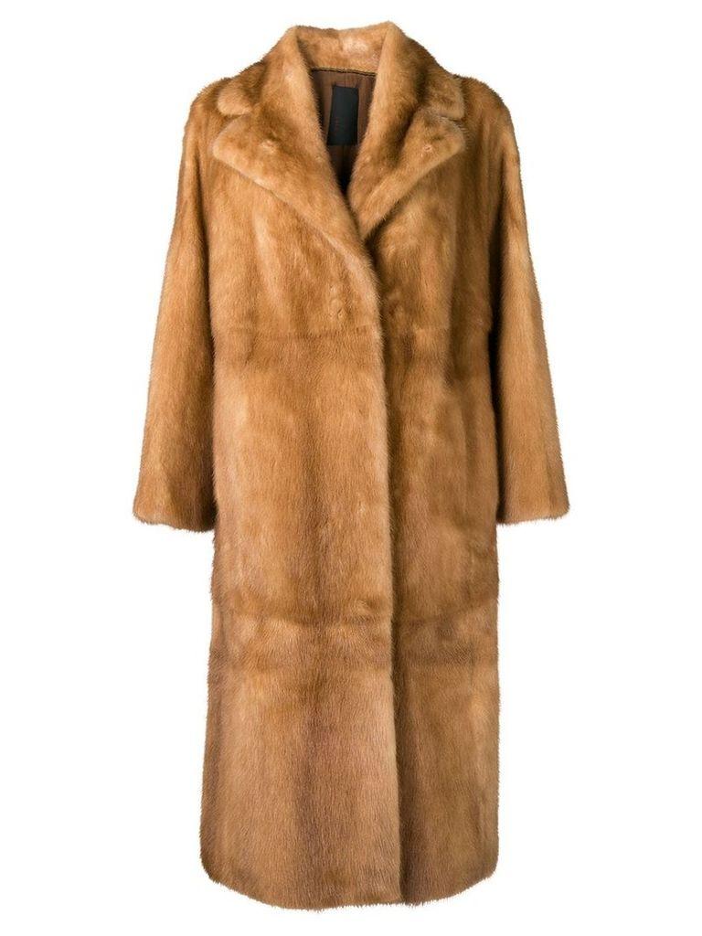 Liska Neptunia fur trimmed coat - Brown