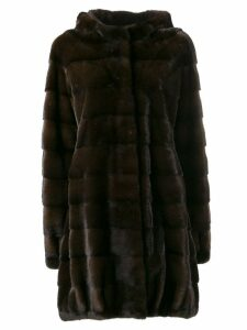 Liska Klara loose trimmed coat - Brown