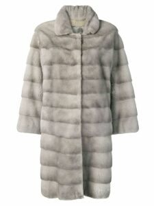 Liska Trudy fur trimmed coat - Grey