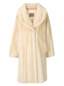 Liska Tini wide-lapelled fur coat - Neutrals