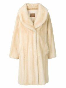 Liska Tini wide-lapelled fur coat - NEUTRALS