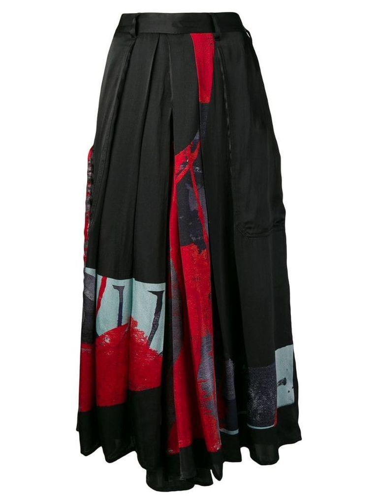 Yohji Yamamoto patchwork full skirt - Black