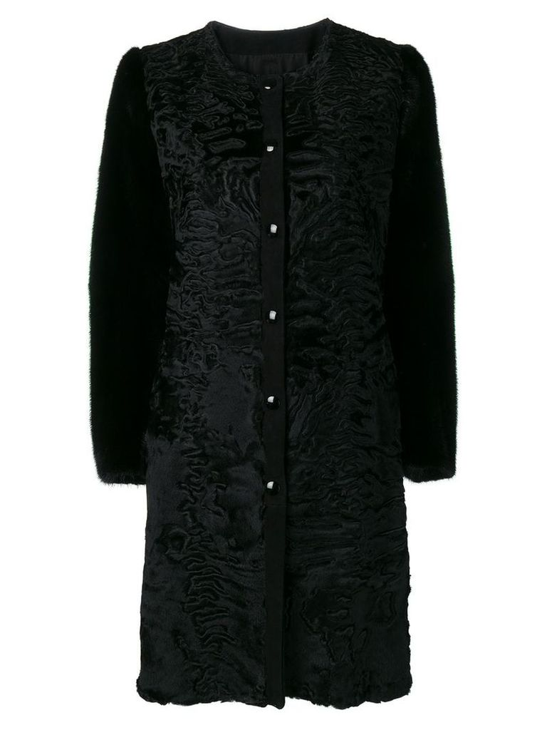 Liska classic fur trimmed coat - Black