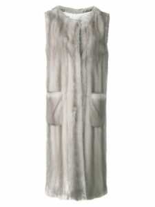 Liska Sagittario fur trimmed waistcoat - Grey