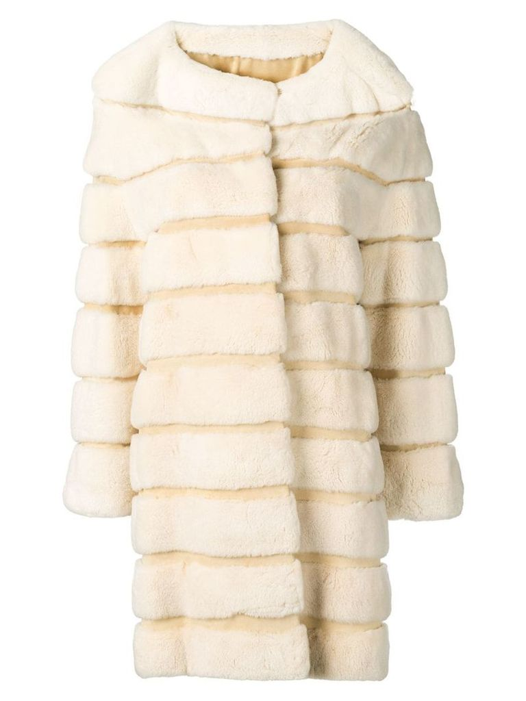 Liska Ninette fur trimmed coat - Neutrals