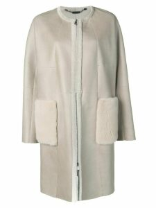 Manzoni 24 straight-cut coat with fur trimmed pockets - Neutrals