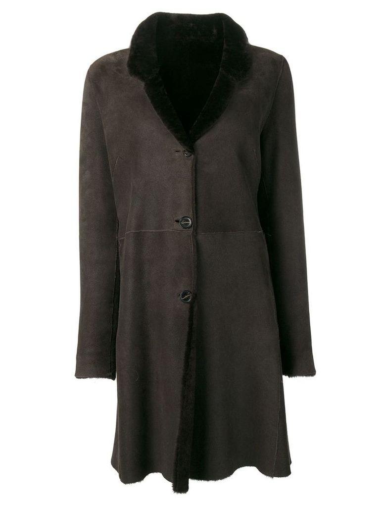 Liska classic fur trimmed coat - Brown