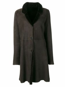 Liska classic fur trimmed coat - Brown