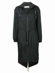 Paco Rabanne logo band parka coat - Black
