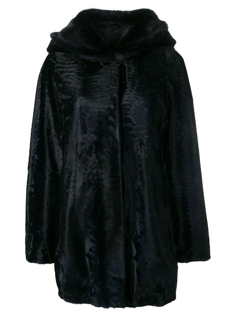 Liska loose fur trimmed coat with a hood - Blue