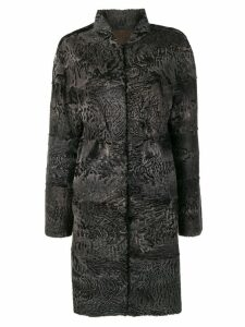 Liska Beatrice fur trimmed coat - Blue
