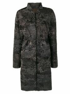 Liska Beatrice fur trimmed coat - Blue