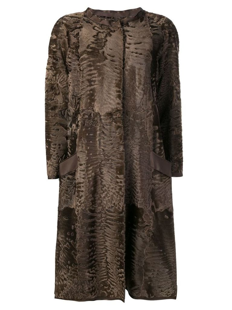 Liska Sil fur trimmed coat - Brown