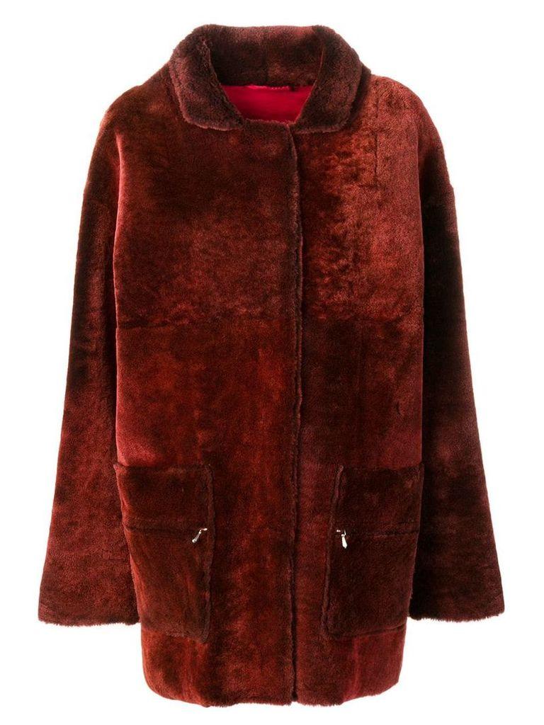 Liska Melouria midi fur coat - Red