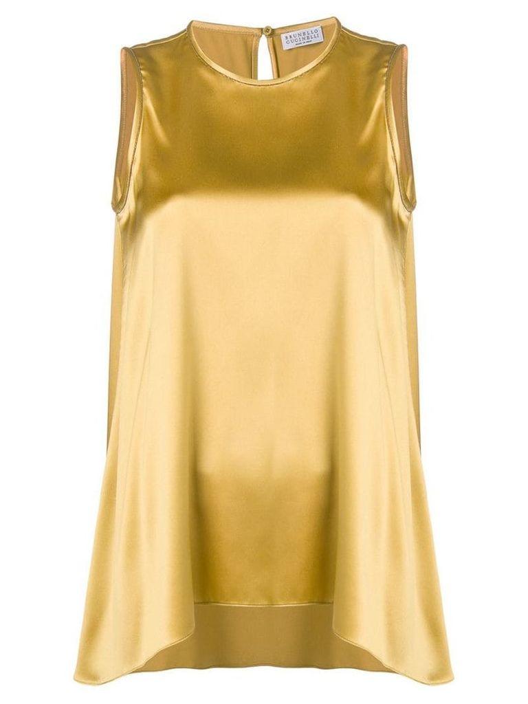 Brunello Cucinelli sleeveless satin blouse - Yellow