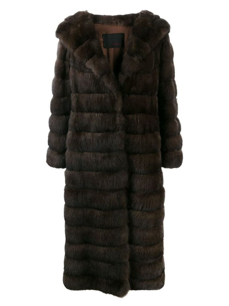 Liska long fur coat with wide lapels - Brown