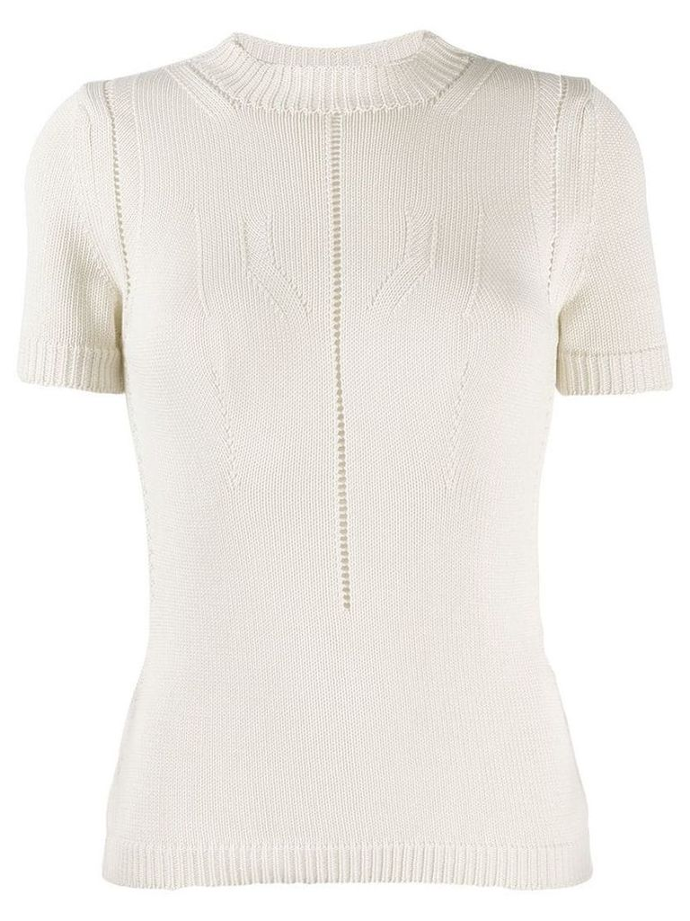 Emporio Armani perforated knit top - Neutrals