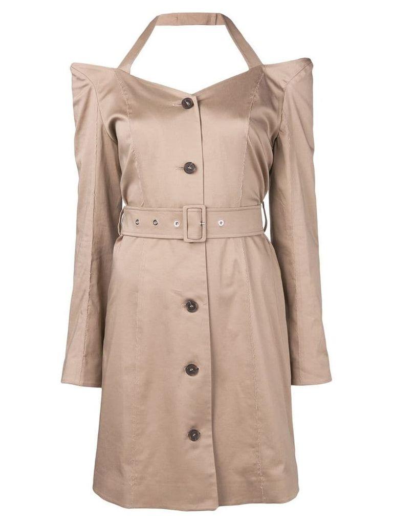 Rokh off shoulder flared dress - Neutrals