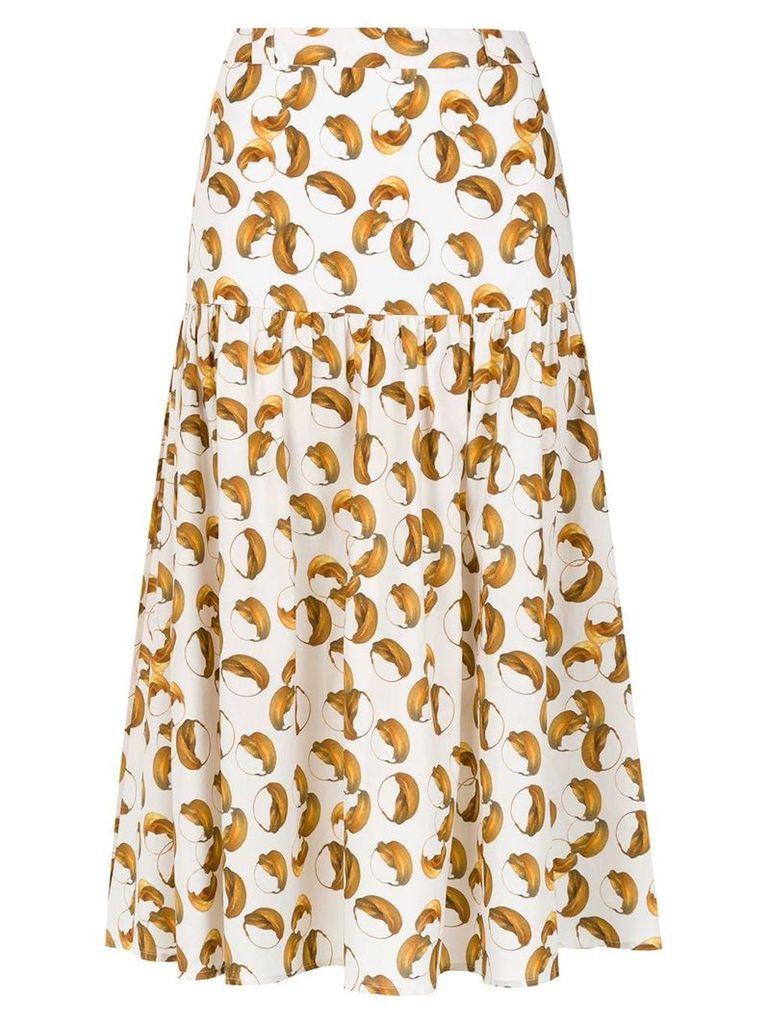 Andrea Marques printed midi skirt - White