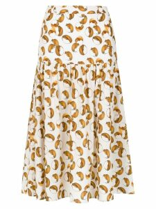 Andrea Marques printed midi skirt - White
