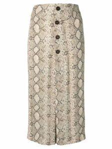 Rokh snakeskin print midi skirt - Brown
