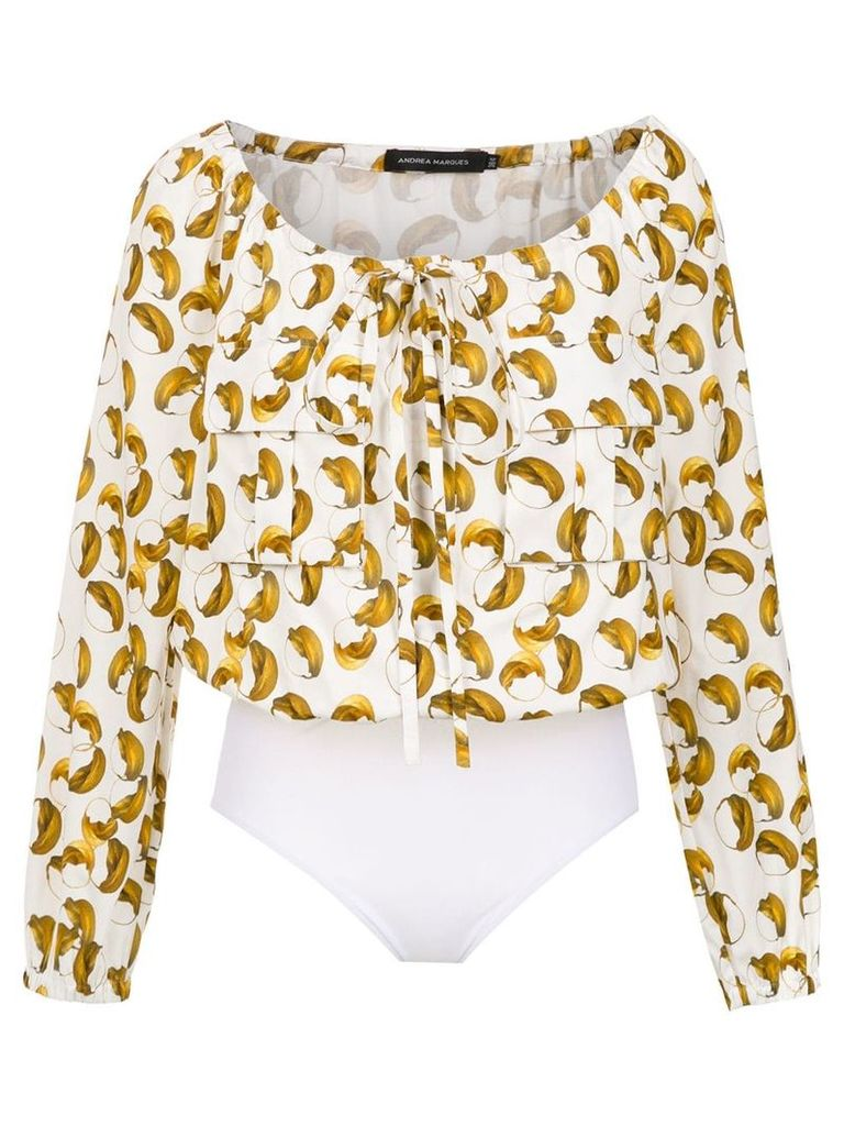 Andrea Marques printed bodysuit - White